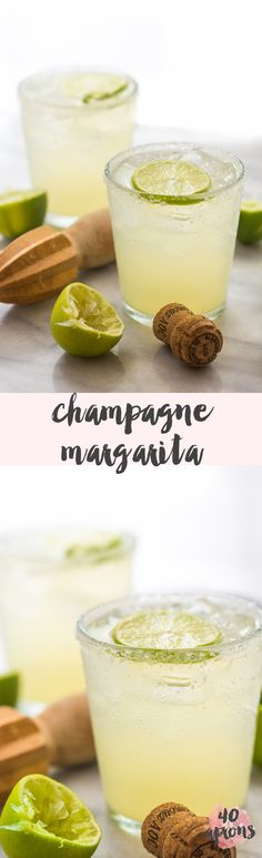 Yummy champagne margarita for bridal shower, engagement party, bachelorette party, or custom wedding cocktail - unique champagne cocktail ideas - wedding cocktail inspiration - fun wedding margarita inspiration {40 Aprons}