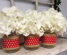 Set of 3 Burlap and Red Polka Dot Wrapped Mason Jars. Perfect for Gifts, Home Decorations, Weddings, Storage, and MORE