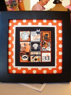 My stampin' buddies met this past Friday and Saturday to make Stampin' Up! Halloween samplers and we were absolutely thrilled with how nice. Halloween Shadow Box, Halloween Frames, Halloween Cards, Holidays Halloween, Halloween Quilts, Happy Halloween, Candy Cards, Fall Cards, Diy Frame