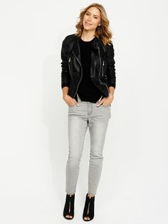 Grey jeans, biker jacket
