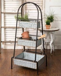 Rustic Galvanized Three Tier Tall Floor Rack x 15 x Simple assembly required. Measurements for individual bins: Large: x 14 x Med: 13 x Rustic Galvanized Three Tier Tall Floor Rack Country Farmhouse Decor, Farmhouse Interior, Modern Farmhouse Kitchens, Farmhouse Kitchen Decor, Farmhouse Chic, Rustic Decor, Rustic Farmhouse Furniture, Kitchen Country, Kitchen Modern