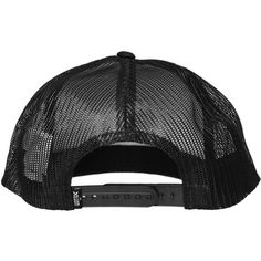 Volcom `Mutt Cheese` Trucker Snapback Cap (Tinted Black) ❤ liked on Polyvore featuring accessories, hats, black cap, volcom snapback, black snapback cap, black snapback hats and snapback hats