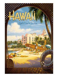 Jet Clippers to Hawaii Pan American Airlines 9in x 12in Hawaiian Master Art Print PAA Vintage Hawaiian Travel Poster by Aaron Fine c.1959 - Hawaiian Surfers Linking Hands