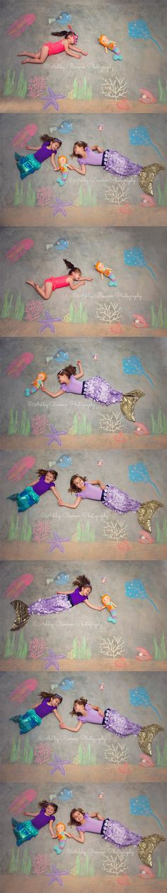 Ashley Boomer Photography | Under the Sea | Mermaid Sisters | Chalk Art | Siblings | Cuddle and Kind Isla Mermaid Doll | Photography Photo Session | Imagination Magical Summer Fun |