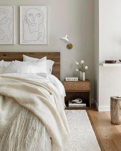 46 Newest Summer Bedroom Design Ideas That Will Inspire Everyone Room Ideas Bedroom, Home Decor Bedroom, Bed Room, Bedroom Signs, Bedroom Paint Colors, Beige Walls Bedroom, White Wall Bedroom, Airy Bedroom, Light Bedroom