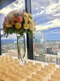 Grand Hyatt Denver | Pinnacle Club Wedding - Place Card Table #GrandHyattDenver #PinnacleClub #Wedding #DenverWedding #WeddingDecor