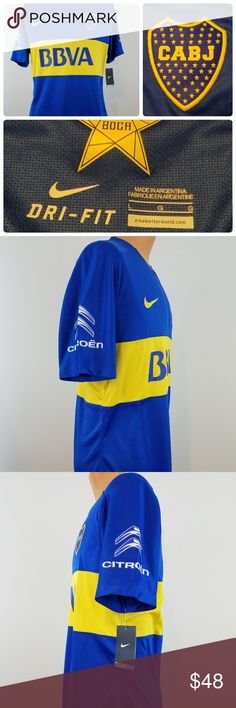 """2015 Nike CABJ BBVA Frances Boca Dri-Fit Stay Cool 2015 Nike CABJ BBVA Frances Boca Dri-Fit Stay Cool Soccer Jersey - Sz Large new with tags  Nike Dri-Fit Stay Cool Jersey 100% polyester  Please verify measurements with one of your favorite shirts to assure a good fit Measurements taken while jersey is laying flat  21""""    Pit to Pit 30""""    Lenght  17""""    Shoulders  9.5""""   Shoulder to cuff    4""""     Armpit to cuff Nike Shirts"""