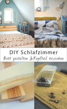 DIY Möbel im Schlafzimmer. So kannst du dir ganz einfach dein Kopfteil vom Bett mit Stoff beziehen. Das Schlafzimmer wird dadurch einfach gleich viel gemütlicher. DIY Ideen für das Schlafzimmer & Schöne Bettwäsche für Dich