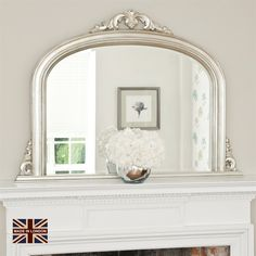 This lovely tarnished silver overmantel is made for us here in the UK. A traditional fireplace mirror, fitted with a top quality bevelled glass, this mirror brings the finishing touch to your living room. Vintage Mirrors, Mirrors Online, Mirror Mirror, Mirror Over Fireplace, Fireplace Mantle, 1930s Fireplace, Country Livingrooms, Silver Furniture, Home