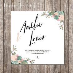 Succulent  and flowers wedding invitation by HappyChantilly, €1.40