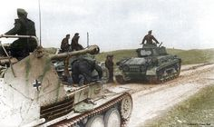 Subunits of the Wehrmacht and the Honved on the march. In the  photo is a Hungarian Csaba Model 1940 armored car, the commander's model, and a German Marder III SP gun.  Eastern Front, 1944.