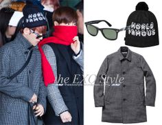 SID_ACOW_RayBanSupreme_BaekHyun Camo Wayfarer Sunglasses in Blue/Black, Uptown Beanie in Blue & Wool Trench in Black/White  | Shop: N/A | Image Source: XIUMINGKY