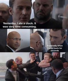 """Captain America's Got Dad Jokes For Days In This New Meme - Funny memes that """"GET IT"""" and want you to too. Get the latest funniest memes and keep up what is going on in the meme-o-sphere. Avengers Humor, Funny Marvel Memes, Marvel Jokes, Crazy Funny Memes, Really Funny Memes, Stupid Funny Memes, Funny Relatable Memes, Haha Funny, Most Funny Jokes"""