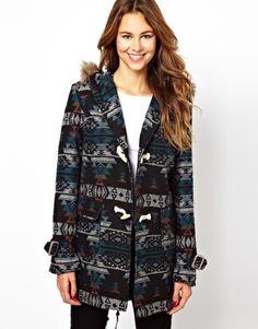 Glamorous Aztek Coat With Faux Fur Hood