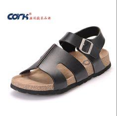 new 2014 fashion man Flat sandals summer shoes Massage Beach Slippers birkenstock sandals men and women free shipping cork022