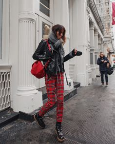 /tartan plaid + perfecto jacket combo on the street