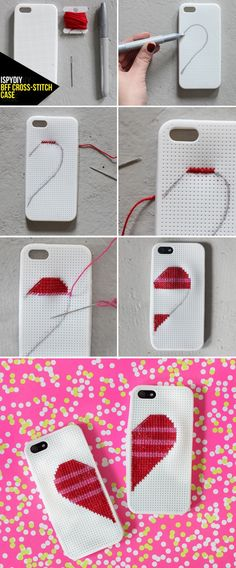 MY DIY | BFF Cross-Stitch Case. You Need: Cross-stitch Case, Needle, Embroidery thread, Sharpie. First, draw the half heart shape on the phone case with your sharpie. Next on to stitching, I started on the top row of the heart with a ///// stitch. Then, crossed back over it to create an XXXX pattern. I worked down row by row, alternating between red and pink thread. Knot in the back to secure.