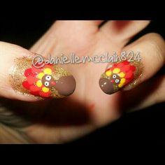 Thanksgiving Glitter turkey nail art designed by me @daniellem824