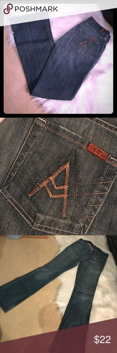 7 for All Mankind A pocket jeans. Authentic, very gently used, 7 for All Mankind A pocket jeans. Jean are higher in the back and lower in the front. 7 For All Mankind Jeans Boot Cut