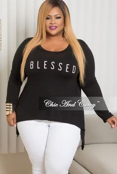 Plus Size Blessed Long Sleeve Top in Black – Chic And Curvy Chic And Curvy, Jazz Blues, Goddesses, Plus Fashion, Womens Fashion, Fashion Forward, Sassy, Long Sleeve Tops, Chill