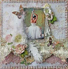 Scraps of Elegance scrapbook kits: Renea Harrison created this breathtaking shabby chic mixed media ballet / ballerina layout with our July Patricia's Memoirs kit. find our kits here: www.scrapsofdarkness.com