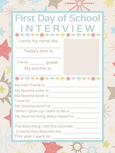 {FREE} First Day of School Interview Printable