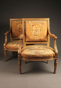 Fabulous pair of 18th century French Louis XVI style gilded Berger chairs with original Aubusson upholstery, circa 1760-80. #antique #chairs