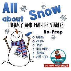 All About Snow - January Literacy - Math Printables - No Prep, literacy learning,
