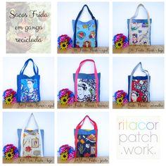 """sacos """"Frida Kahlo"""" em ganga reciclada"""