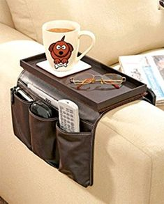 Great Ideas Luxury Faux Leather TV Remote Control Handset Holder / Organiser / Caddy For Arm Rests With Cup Holder Tray - Fits Over Chairs, Sofas Armchairs With 15cm-19cm Wide Arm - Eight Pockets