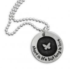 Etched Butterfly Circle of Love Necklace