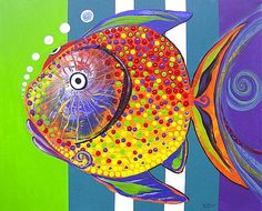 Acid fish, painting by J Vincent Scarpace Pottery Painting, Dot Painting, Stone Painting, Fish Wall Art, Fish Art, Sea Life Art, Cartoon Fish, Fish Patterns, Animal Decor