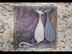 String Art- Cats, grey, white, stained wood Made By: Jennifer MacLeod Schutt