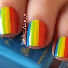 This makes me so happy; I can't believe I've never tried doing rainbow nails. Today! It's happening.