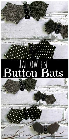 Simple Halloween Button Bats are a simple Halloween craft to . - Halloween and Fall - Crafts Couture Pour Halloween, Halloween Stoff, Halloween Fabric Crafts, Halloween Crafts For Kids, Halloween Home Decor, Halloween House, Holidays Halloween, Fall Crafts, Fall Halloween