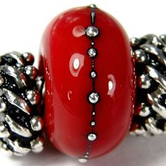 Red art glass charm bead. Handmade large hole lampwork glass slider bracelet charm bead with .999 fine silver BHB SRA      My artisan glass charms fit trendy European charm bracelets including Pandora