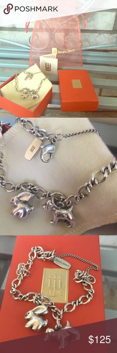 James Avery charm bracelet sterling silver This medium twist charm bracelet is a cute accessory that includes a bunny and puppy charm for those who have these lovable pets or maybe just really like bunnies and puppies. Keep adding to this charm bracelet to further customize it to your own personality. James Avery Jewelry Bracelets