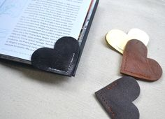 Leather Heart Bookmark – Charming Handmade Book Page Corner Bookmark - Shop All - Whimsical & Unique Gift Ideas for the Coolest Gift Givers Corner Bookmarks, How To Make Bookmarks, Diy Gifts, Handmade Gifts, Handmade Items, Handmade Bookmarks, Personalised Gifts, Crea Cuir, Heart Bookmark