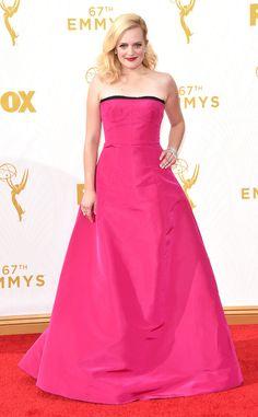 2015 Emmys: Red Carpet Arrivals Elisabeth Moss, Emmy Awards 2015. Big and pink. No! No! No!