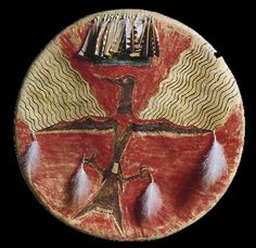 Shield painted by No Two Horns. Lakota.
