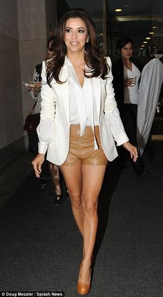 Eva Longoria style. Love the camel-hued shorts teamed with the blazer | Style | Fashion | Glamour |