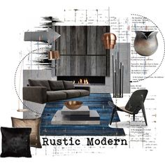 Rustic and Modern by szaboesz on Polyvore featuring interior, interiors, interior design, home, home decor, interior decorating, Ethan Allen, Designers Guild, Milton & King and Carl Hansen & Sons