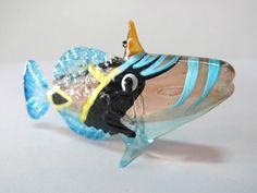 Underwater Handicraft MINIATURE HAND BLOWN GLASS Fish FIGURINE Collection # 85