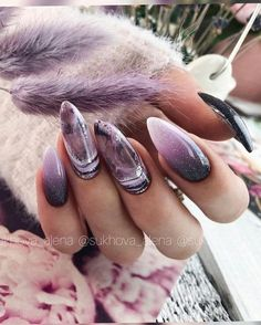 Nagellack Design, Nagellack Trends, Halloween Acrylic Nails, Best Acrylic Nails, Purple Nails, Black Nails, Gorgeous Nails, Pretty Nails, Witch Nails