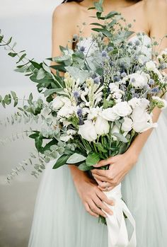Gorgeous Sage and Blue Grey bouquet