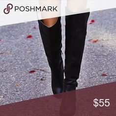 Leather Over the Knee boots The latest fashion, and perfect for the winter time ~ these leather over the knee boots are a MUST for your closet. In good condition. Size 8 Shoes Over the Knee Boots