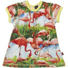 Flamingo print baby dress