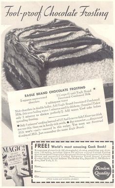 Eagle Brand Chocolate Frosting - 01 MAR 1935 Good Housekeeping Magazine