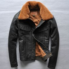 Find More Information about Free Shipping 2015 New High Grade Men Leather Jacket Black Slim Woolen Collar 100% Genuine Cow Skin Leather Men Winter Warm Coat,High Quality jackets kids,China coat cotton Suppliers, Cheap coated glass from ShowGirl Fashion on Aliexpress.com
