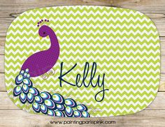 Peacock Melamine Platter - Personalized by PaintingParisPink